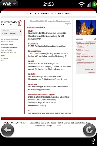 Startseite UB Heidelberg im Palm Pre