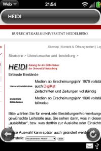 HEIDI Recherche mit Palm Eingangsdialog